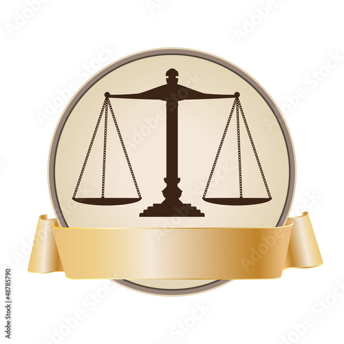 justice scale symbol with ribbon