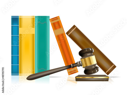 realistic justice gavel and books