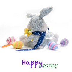 Little easter bunny with colored eggs. All on white background.