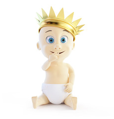 child with a golden crown