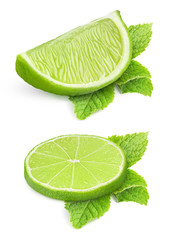 Pieces of lime isolated on white