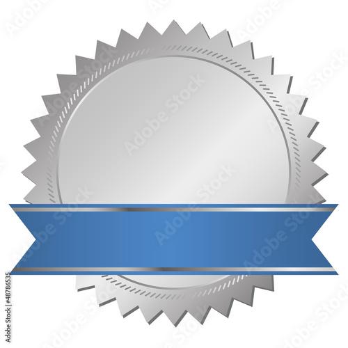 Zertifikat silber mit blauem Banner