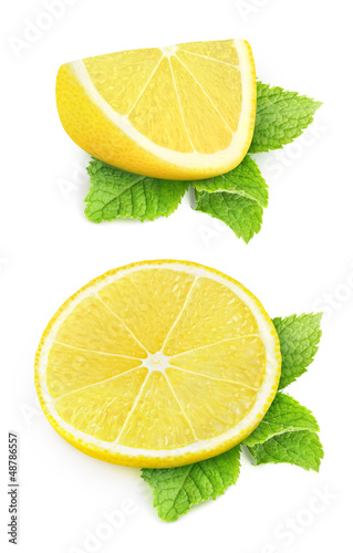 Pieces of lemon isolated on white