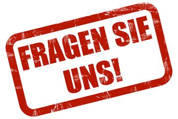 Grunge Stempel rot FRAGEN SIE UNS!
