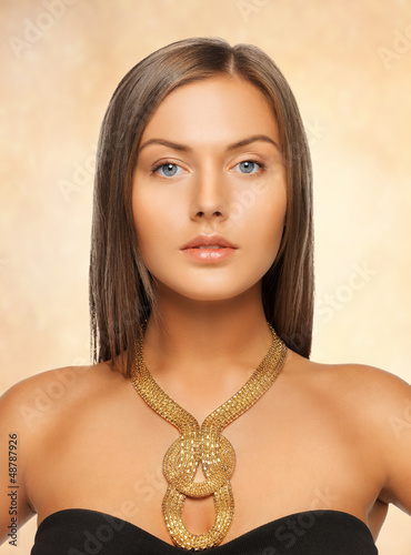 beautiful woman with necklace