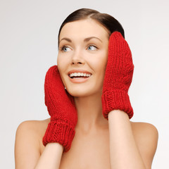woman in mittens
