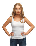 calm and serious woman in blank white t-shirt