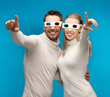 man and woman with 3d glasses