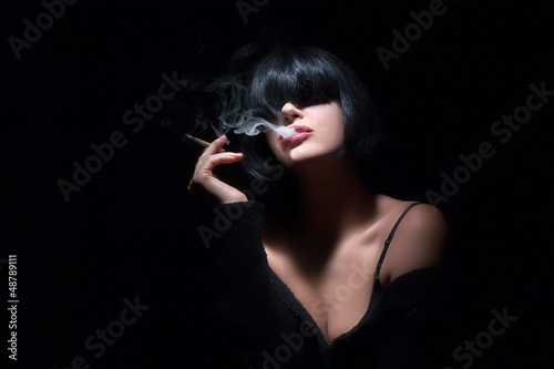 Fashion Art Portrait Of Beautiful Girl. Smoking. Sensual Red Lip
