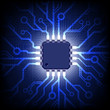 Circuit board with microchip. Vector background.