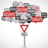 nuage de mots bulles silhouette : sécurité routière