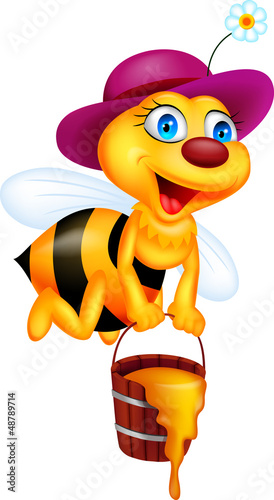 Bee cartoon with honey bucket