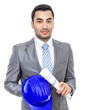 Portrait of businessman or engineer with helmet and papers