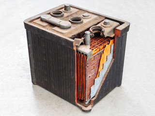 Old car battery with partly opened body