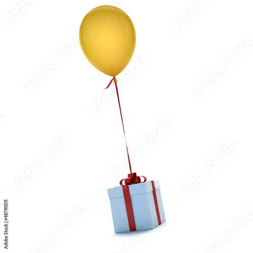Gift with balloon yellow