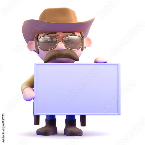 Cowboy holds up a blank sign