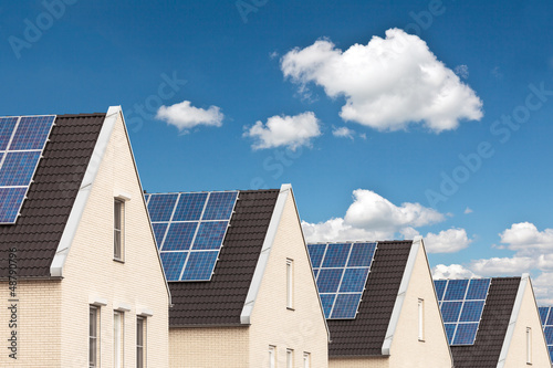 Row of new houses with solar panels