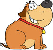 Happy Fat Dog Cartoon Mascot Character