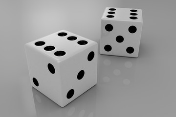 Two white plastic bouncing dices
