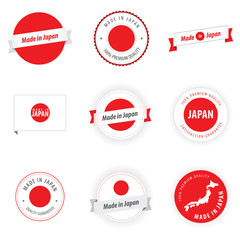 Made in Japan labels, badges and stickers