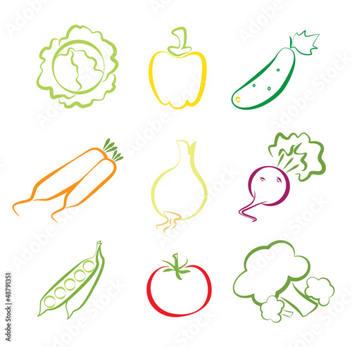 Vegetables assorted isolated on white
