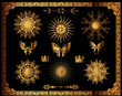 Vector set of gold decorative elements.