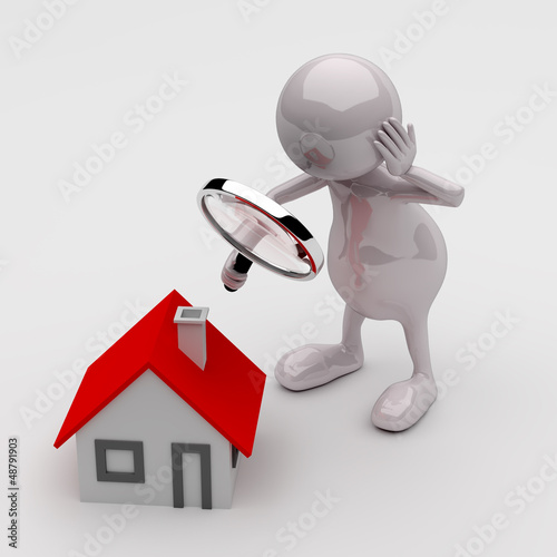 3D People with Magnifying Glass and House