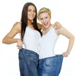 Beautiful girls are proud to lose weight, show their jeans