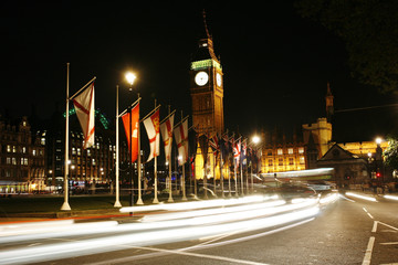 Big Ben and International Flags at Night