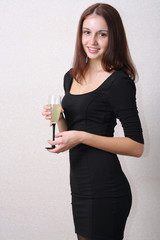 sexy woman in dress and glass of wine