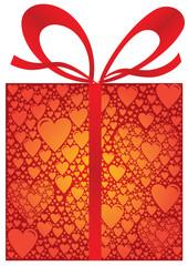 Paquet Cadeau Rouge fait de multiples Coeurs avec Ruban