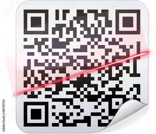 Sticker code-barres QR code et scan