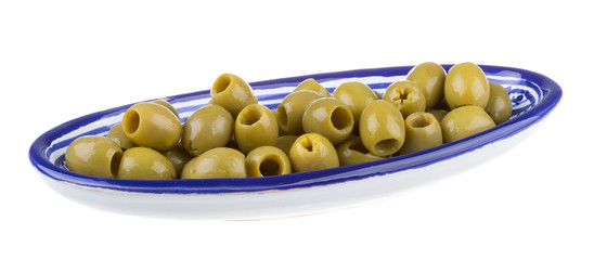 Olives over white background