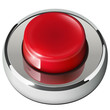 Red web button, 3D chrome metallic.