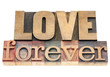 love forever in wood type