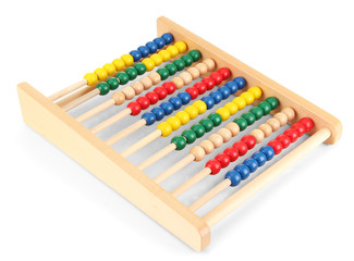 Bright wooden toy abacus, isolated on white