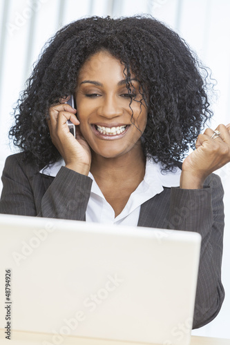 African American Woman Businesswoman Cell Phone Laptop