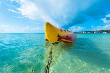 Inflatable banana boat at Caribbean Sea, San Andres Island