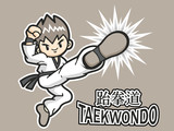 Taekwondo exercise in boys Mascot. Sports Character Design Serie
