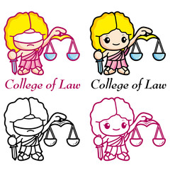 The goddess of justice and law, Dike Mascot. Education Character
