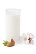 Almond milk, isolated on white background