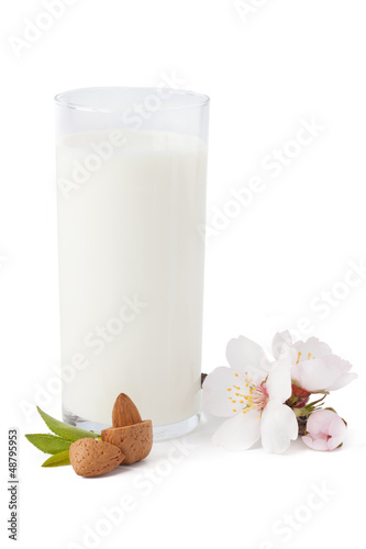 Almond milk, isolated on white background