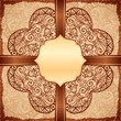 Vintage beige ethnic background with doodle ornament and ribbon