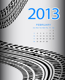 2013 february calendar with special black tire design
