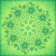 Green doodle flowers vector background