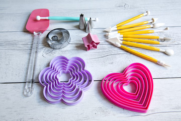Tools to make cookies, cake and cake design