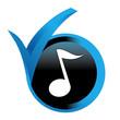 note de musique sur bouton validé bleu