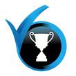 trophée sur bouton validé bleu