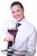 Kellnerin mit Weinglas