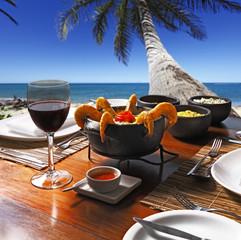 Brazilian shrimp stew and fish